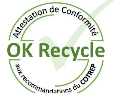 OK RECYCLE :  Un certificat de conformité aux recommandations du COTREP pour Charcupac !